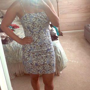 Floral blue mini dress